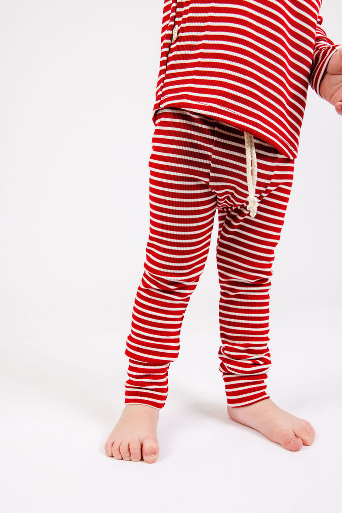 rib knit pant - peppermint inverse stripe