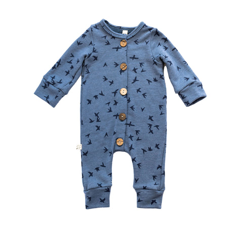 long sleeve romper - birds on steel blue