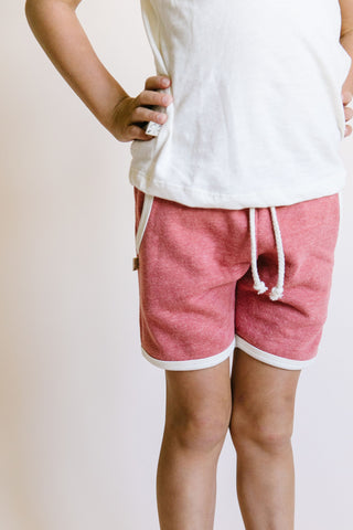 french terry retro short - rosy