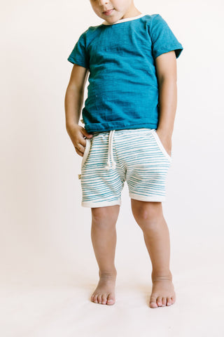 french terry retro short - deep teal painted stripe