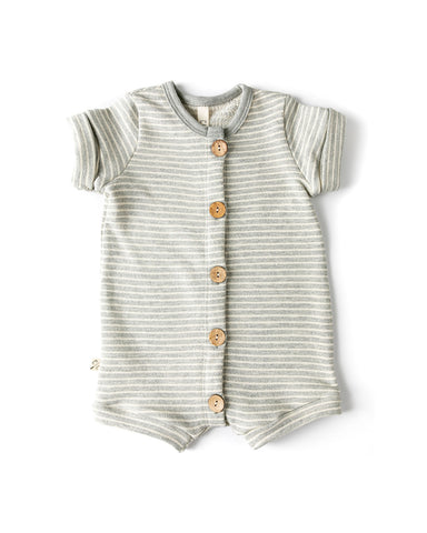 rolled sleeve romper - medium gray stripe