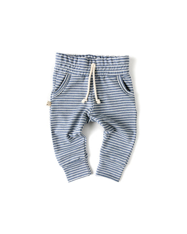 slub jogger - chambray stripe