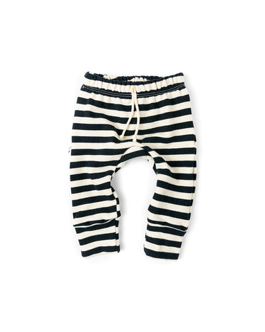 gusset pants - navy and cream stripe