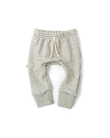 gusset pants - medium gray stripe