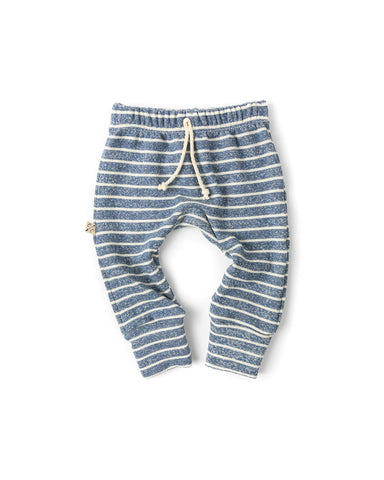 gusset pants - heather chambray stripe