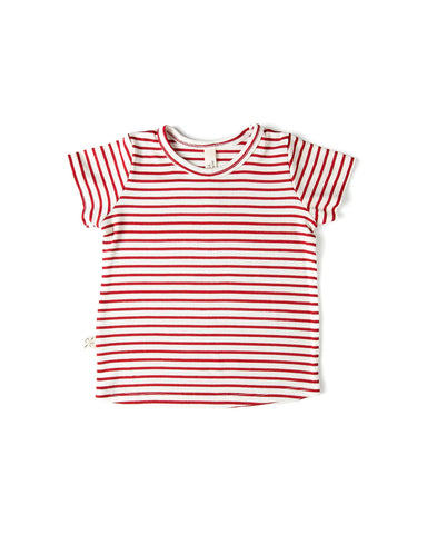 rib knit tee - peppermint stripe