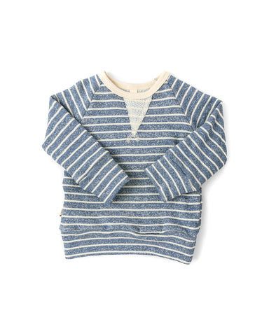 pullover crew - heather chambray stripe