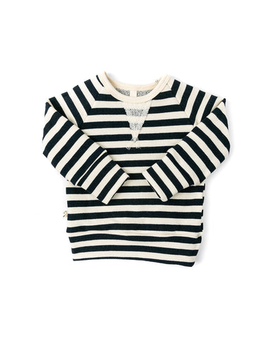 pullover crew - navy and cream stripe