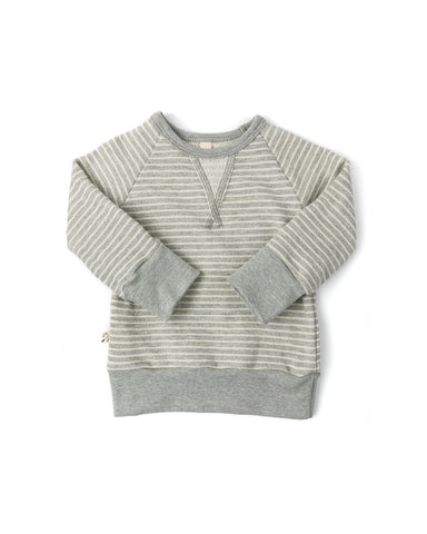 pullover crew - medium gray stripe