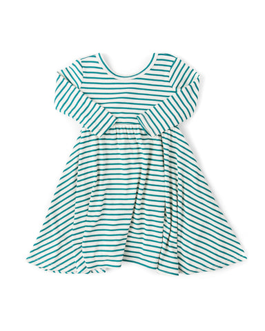 long sleeve swing dress - aqua stripe
