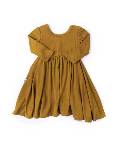 long sleeve swing dress - gold