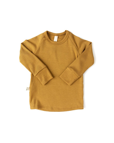 rib knit long sleeve tee - wheat