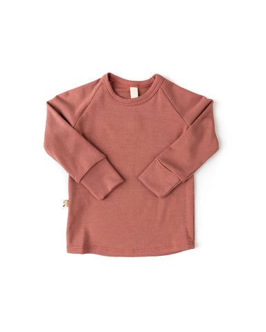 rib knit long sleeve tee - quartz