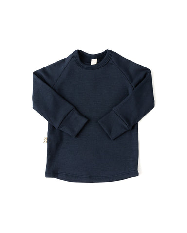 rib knit long sleeve tee - passport blue