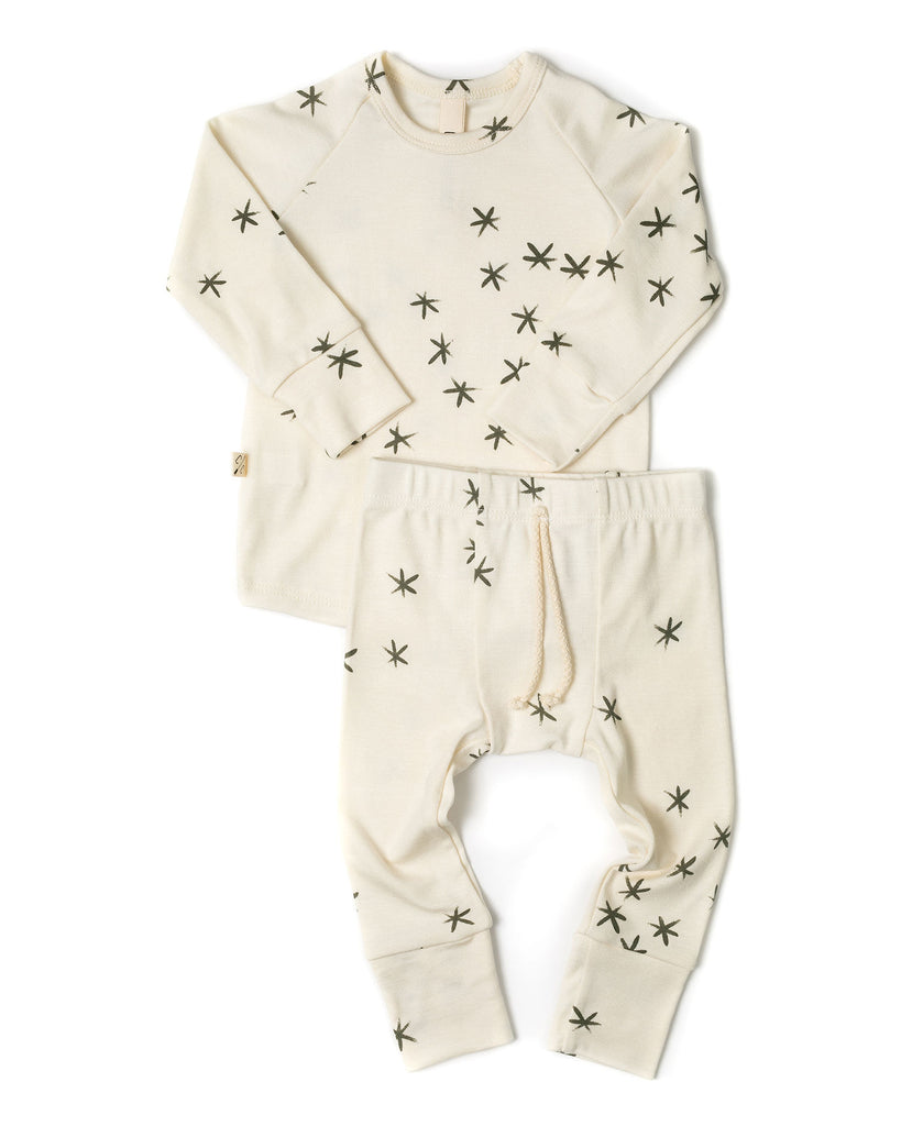 rib knit pant - stars on natural
