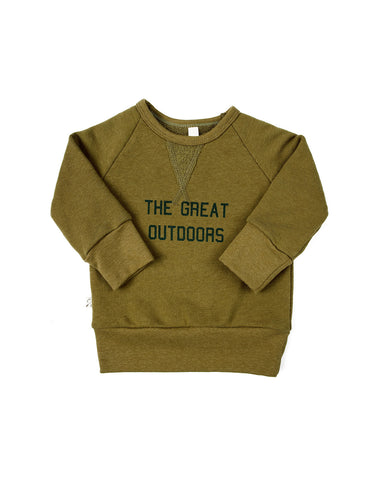 pullover crew - great outdoors on moss