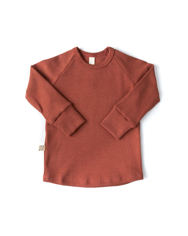 rib knit long sleeve tee - terra cotta