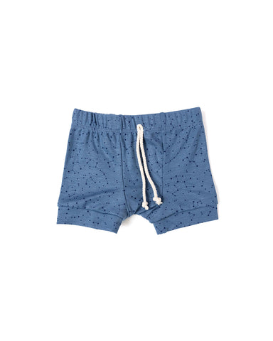 rib knit shorts - constellations on pigeon blue