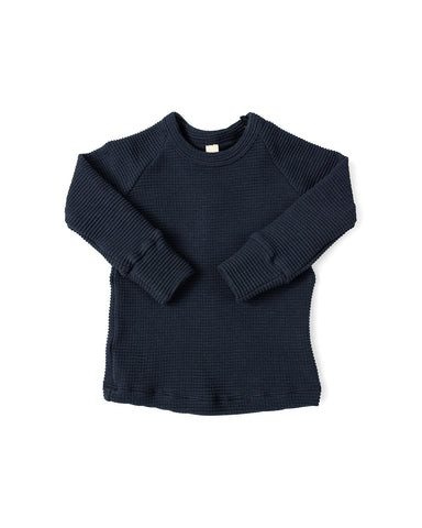 waffle knit long sleeve top - passport blue