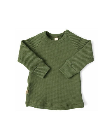 waffle knit long sleeve top - khaki green