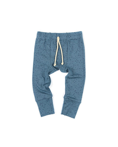 rib knit pant - constellations on pigeon blue