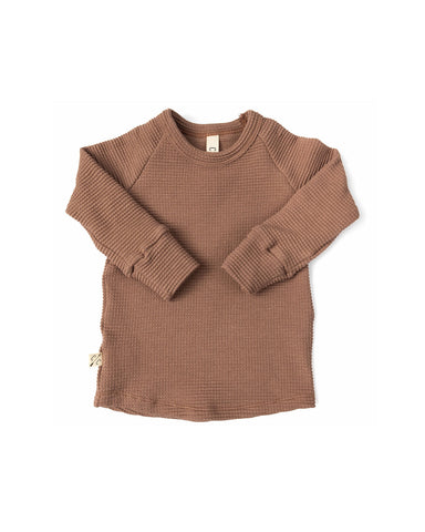 waffle knit long sleeve top - milk chocolate