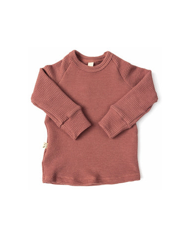 waffle knit long sleeve top - quartz