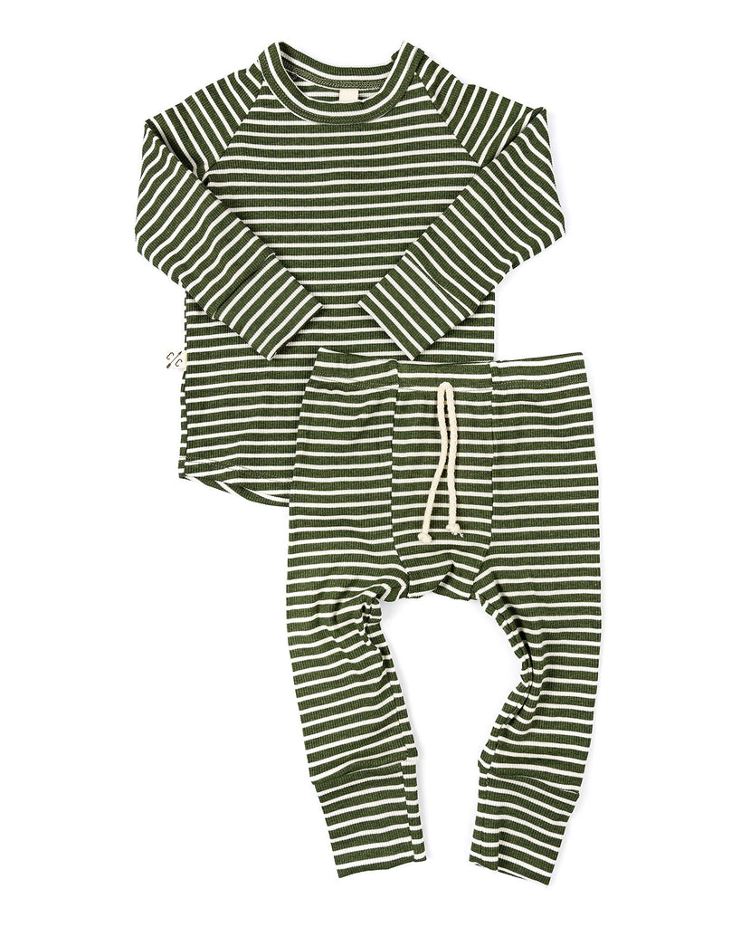 rib knit pant - evergreen inverse stripe