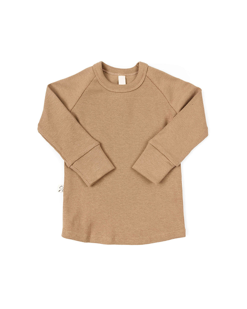 rib knit long sleeve tee - kraft