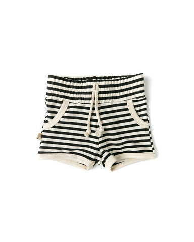 french terry retro short - black stripe