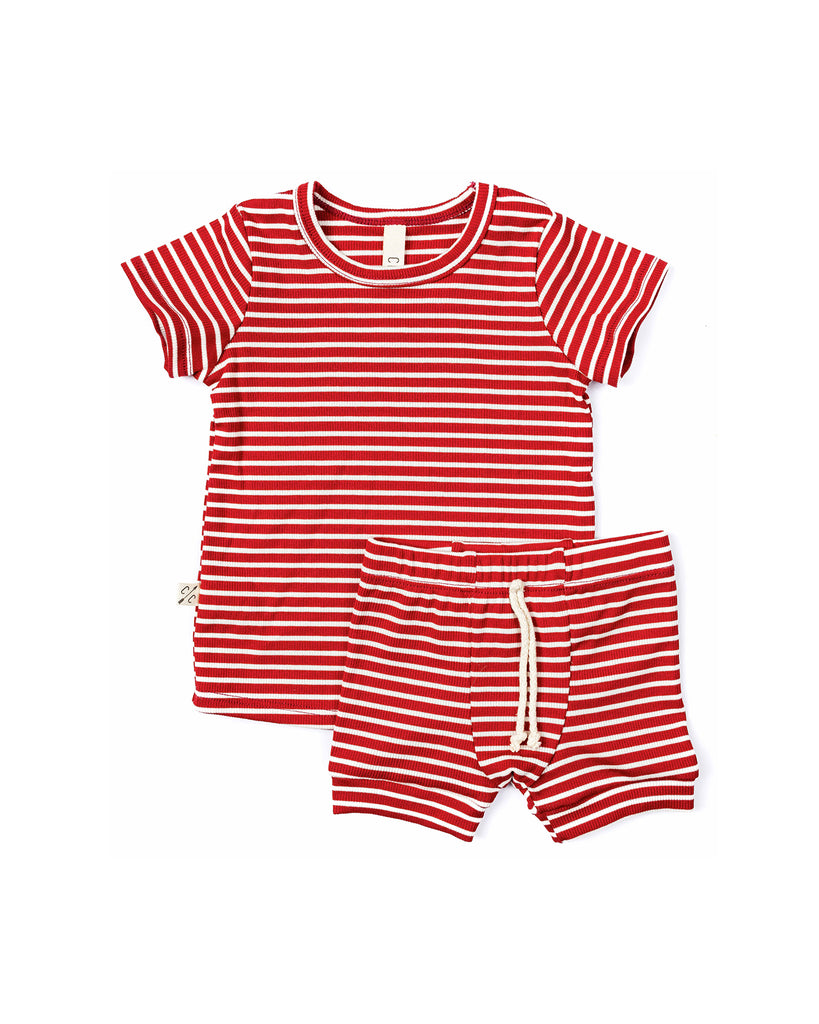 rib knit tee - peppermint inverse stripe