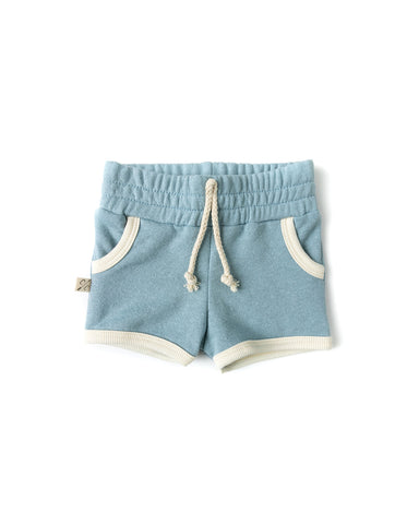 french terry retro short - dusty blue