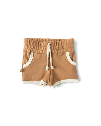 french terry retro short - camel
