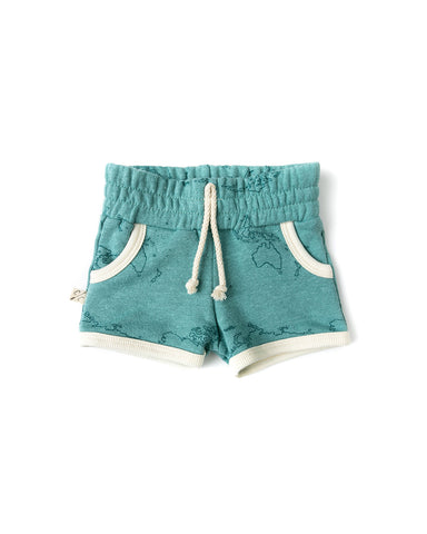 french terry retro short - maps on oil blue