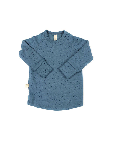 rib knit long sleeve tee - constellations on pigeon blue