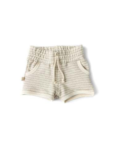 french terry retro short - oatmeal stripe
