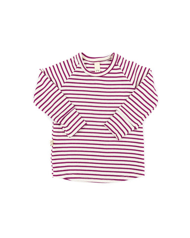 rib knit long sleeve tee - mulberry stripe