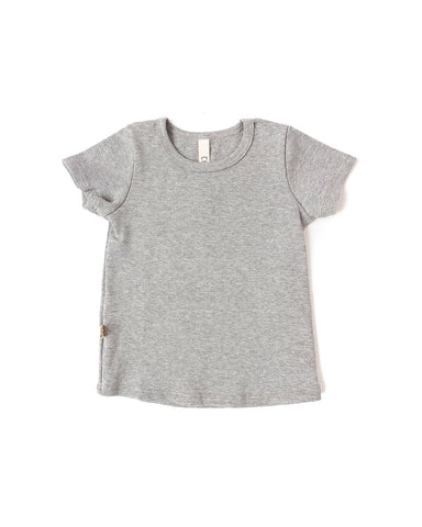 rib knit tee - medium gray