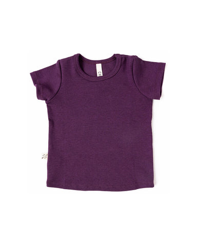 rib knit tee - black plum