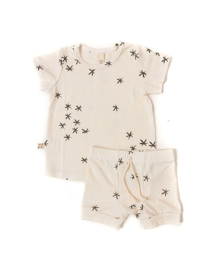 rib knit tee - stars on natural