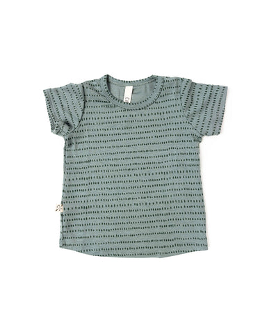 rib knit tee - dash dot on sage