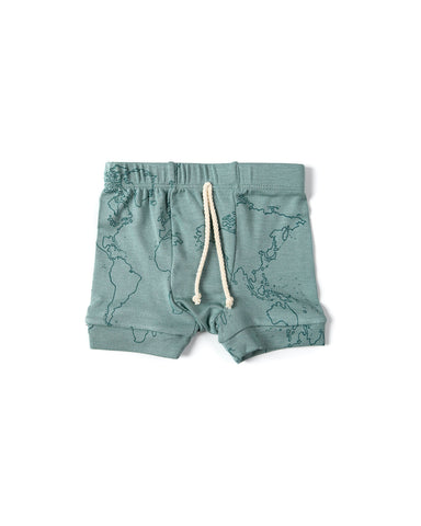 rib knit shorts - maps on oil blue