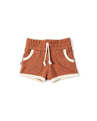 french terry retro short - terra cotta