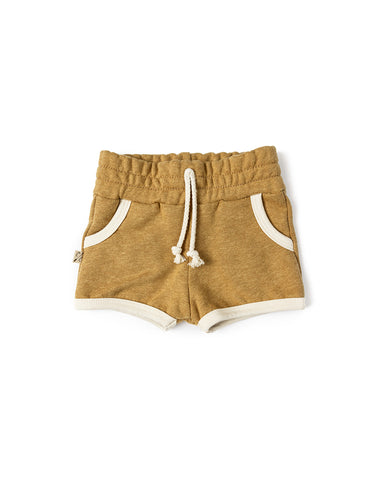 french terry retro short - wheat