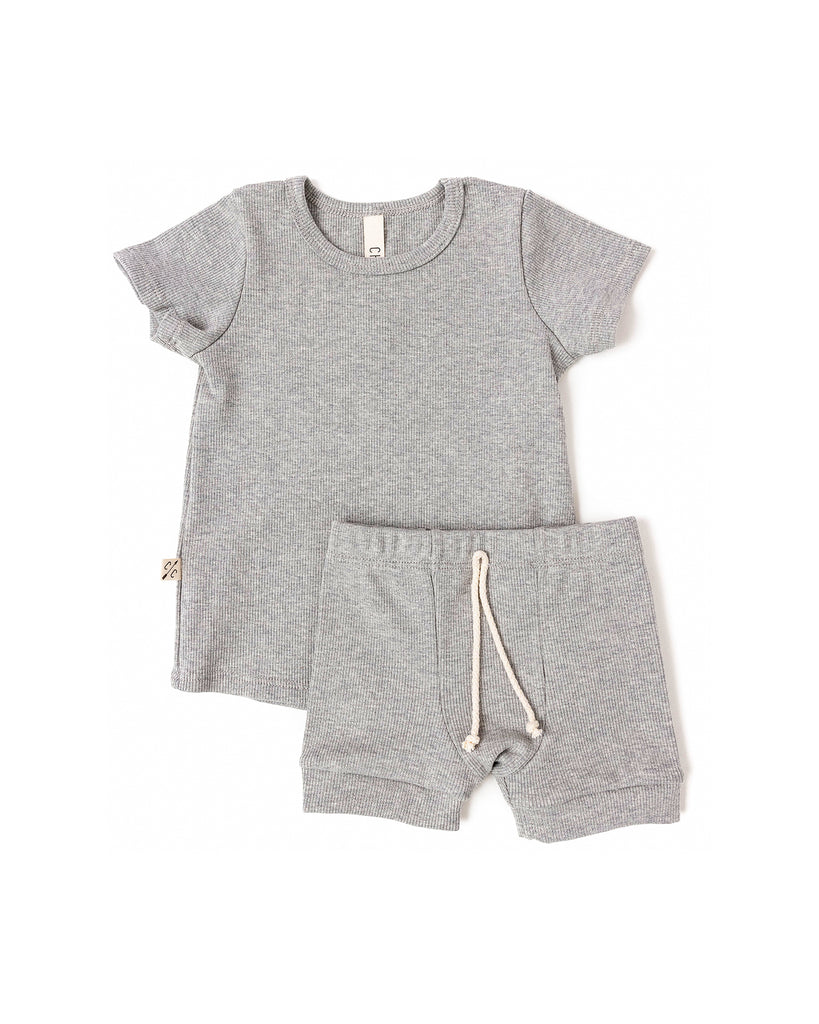 rib knit shorts - medium gray