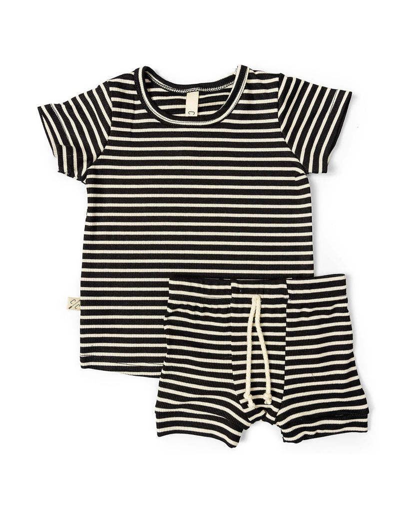 rib knit tee - black stripe