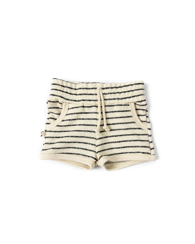 french terry retro short - natural stripe