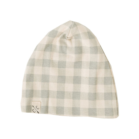 slouch beanie - gray plaid