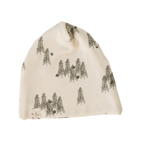 slouch beanie - trees on natural