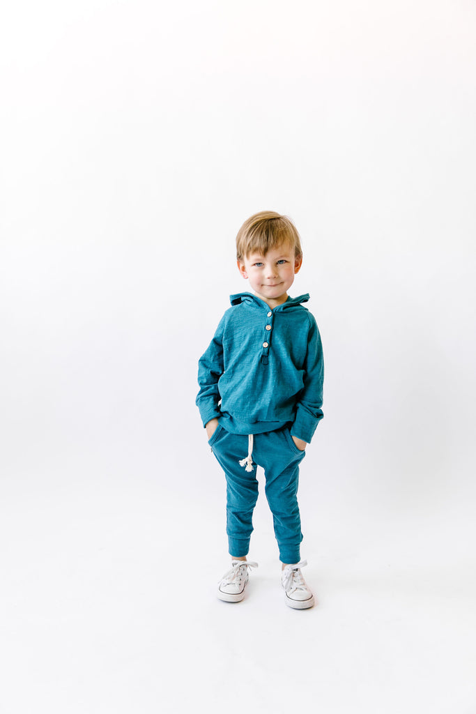 jersey jogger in 'peacock' [please read sizing note]
